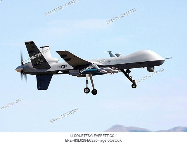 MQ-9 Reaper flies previous models were called Predators on a training mission above Creech Air Force Base. Aug. 07 2008
