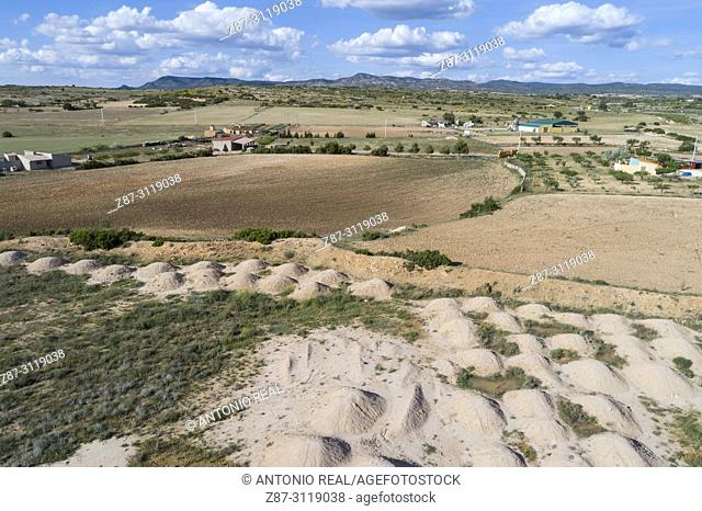 Dron view of fields and sierra de Almansa. Albacete. Spain
