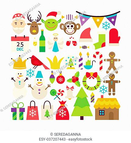 Big Collection of Merry Christmas Objects. Flat Design Vector Illustration. Set of Winter Holiday Happy New Year Colorful Items