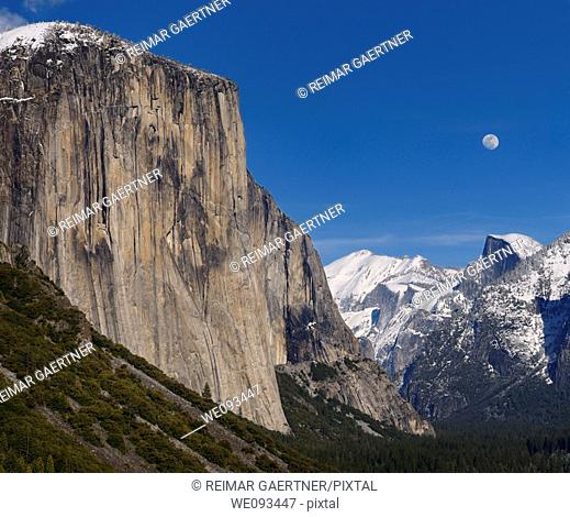Yosemite Valley from Tunnel View with El Capitan and Half Dome with moonrise over snow covered peaks