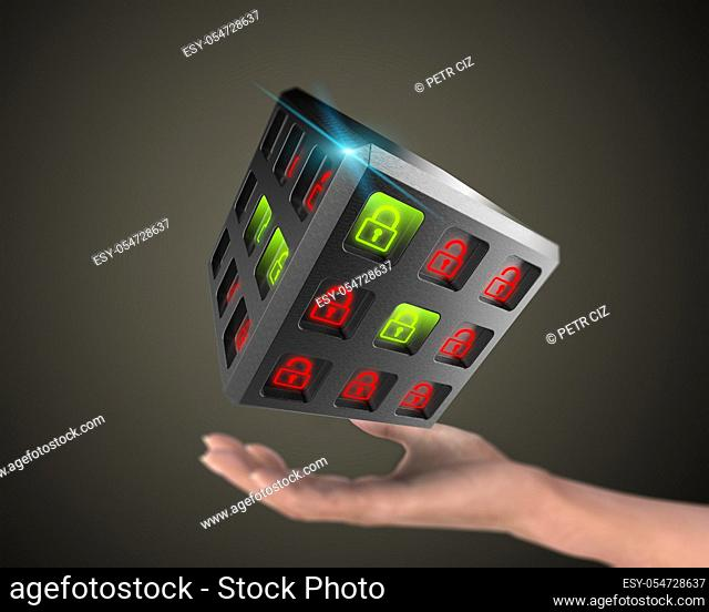 3D rendering, Safety system concept for digital data. Security of information systems background