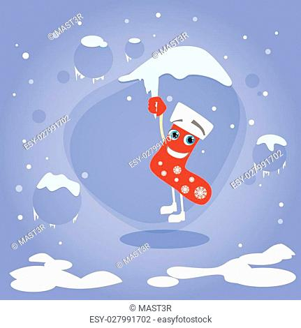 Christmas Red Socks Hang on Icicle Cartoon Character Concept Blue Snow Background Flat Vector Illustration