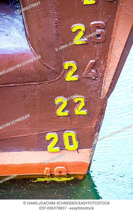draft marker of an old ship
