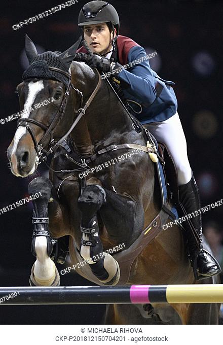 Nicola Philippaerts, show jumper, competes with horse called H&M Chilli Willi during Super Grand Prix of Individuals race, finals