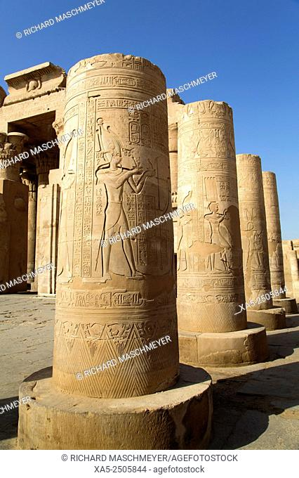 Pilars with Bas-relief, Forecourt, Temple of Haroeris and Sobeck, Kom Ombo, Egypt
