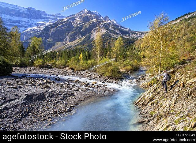 The Cirque de Gavarnie and the Gavarnie Falls / Grande Cascade de Gavarnie, highest waterfall of France in the Pyrenees. Hautes-Pyrenees, Gavarnie-Gèdre