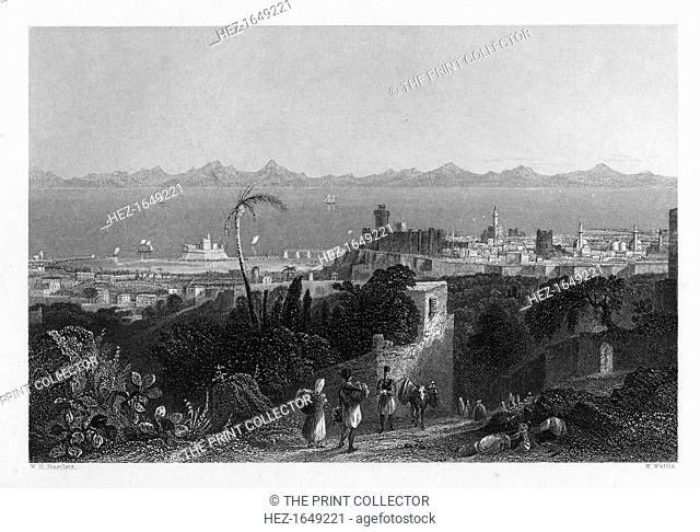 'Rhodes, from the Heights near Sir Sidney Smith's Villa', 1841. View from a house belonging to the British admiral, William Sidney Smith (1764-1840)