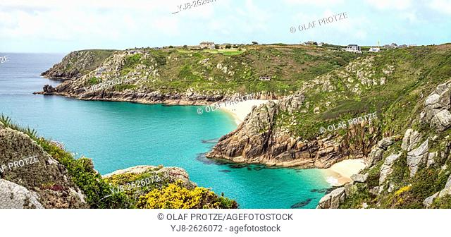 View over the coastline near Porthcurno, Cornwall, England, UK