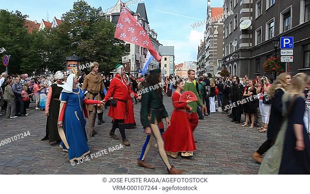 Letonia, Riga City, Parade on the 801th. City anniversary