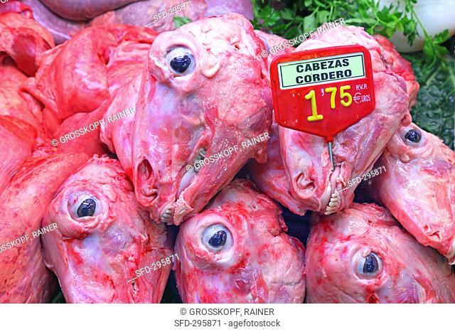 Lamb heads on a market stall Mercat de St. Josep Boqueria, Las Ramblas, Barcelona, Spain