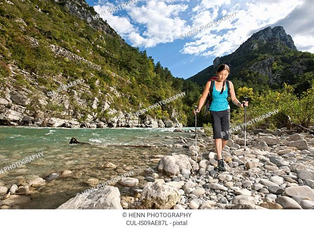 Woman hiking along the Verdon Canyon, Provence, France