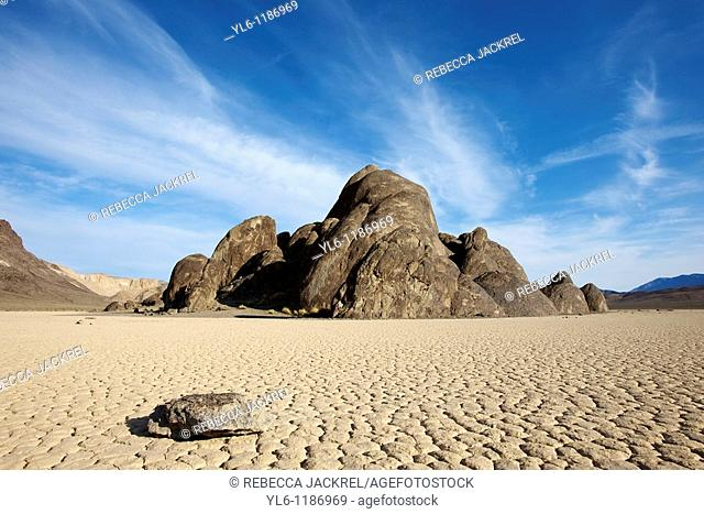 North America, USA, California, Death Valley National Park, The Racetrack  Formation called the Grandstand on the dry lake bed called the Racetrack