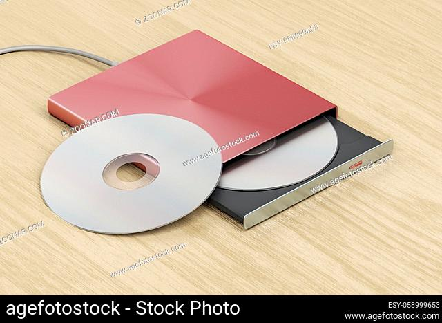 External optical drive on wood table