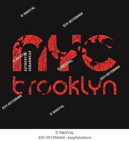 New York Brooklyn t-shirt and apparel vector design, print, typography, poster, emblem