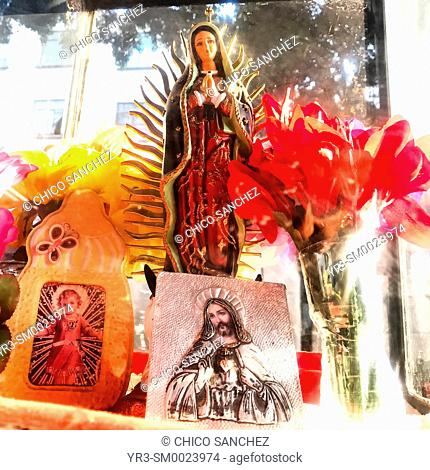 An altar with images of Our Lady of Guadalupe, Jesus Christ and Baby Jesus decorated with flowers in Colonia Roma, Mexico City, Mexico