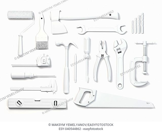 Set of of white tools isolated on white background. Mock up. With paths 3d illustration