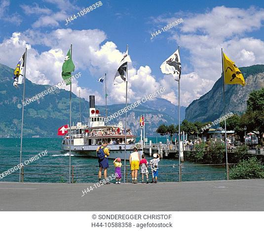 10588358, Switzerland, Europe, canton Uri, Flüelen, harbour, port, steamboat, flags, banners, Vierwaldstättersee, lake Lucerne