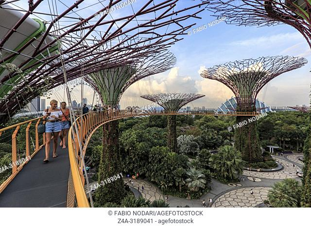 Singapore, Singapore - October 16, 2018: Tourists walking on a Supetree Grove at the Gardens by the Bay in Singapore