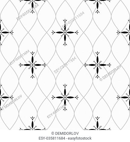Seamless pattern consisting of geometrical figures of black color