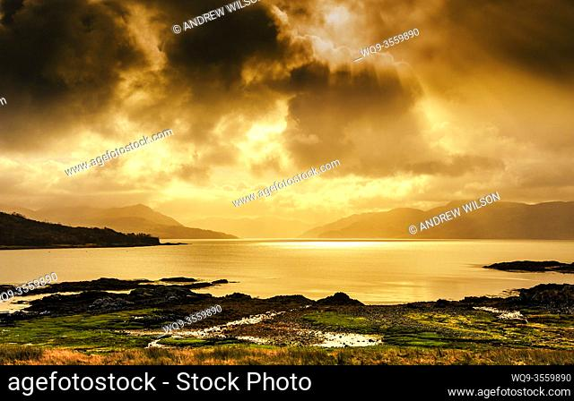 Looking across Loch Hourn from the Island of Skye towards the Scottish Mainland