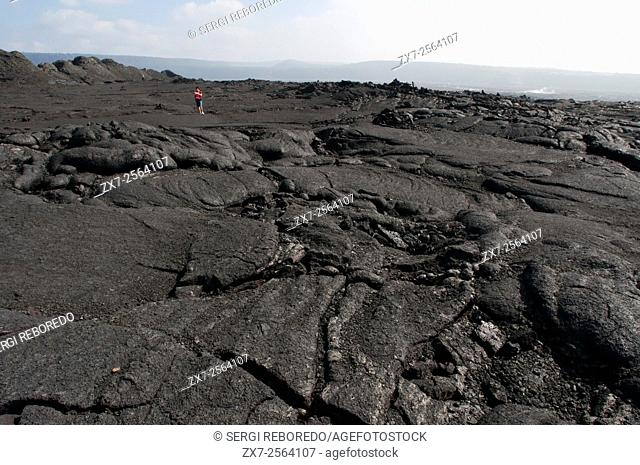 Tourists in Hawai'i Volcanoes National Park. Big Island. Hawaii. USA. Halemaumau crater is a pit crater located within the much larger summit caldera of Kalauea...