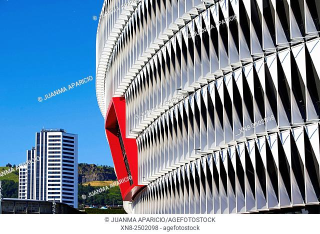 Exterior Detail of San Mames Stadium, Bilbao, Biscay, Bizkaia, Basque Country, Euskal Herria, Spain, Europe