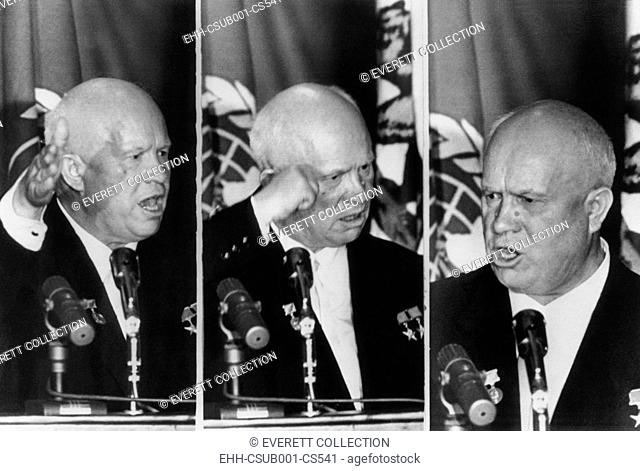 Soviet Premier Nikita Khrushchev gestures as he reacts to L.A. Mayor Norris Poulson remarks. At the banquet given by the Los Angeles World Affairs Council