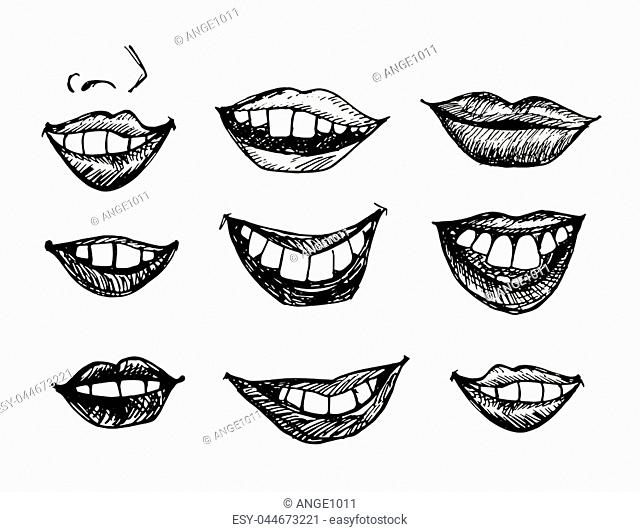 Vector black and white fun smiling lips collection. Set of sketch illustration of joy and happiness