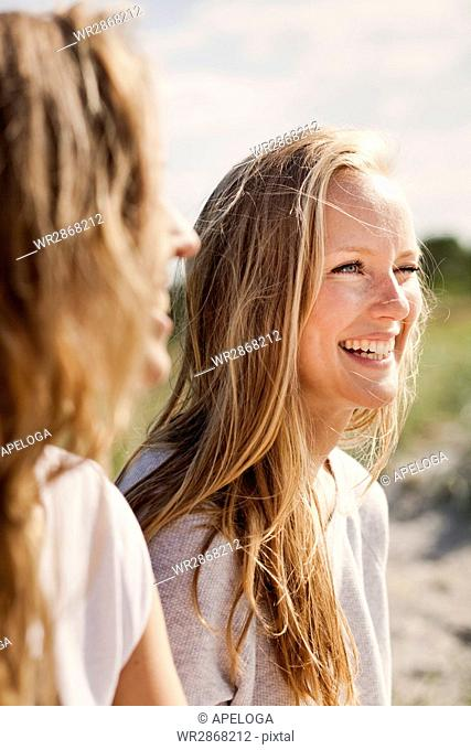 Close-up of young cheerful friends talking at beach