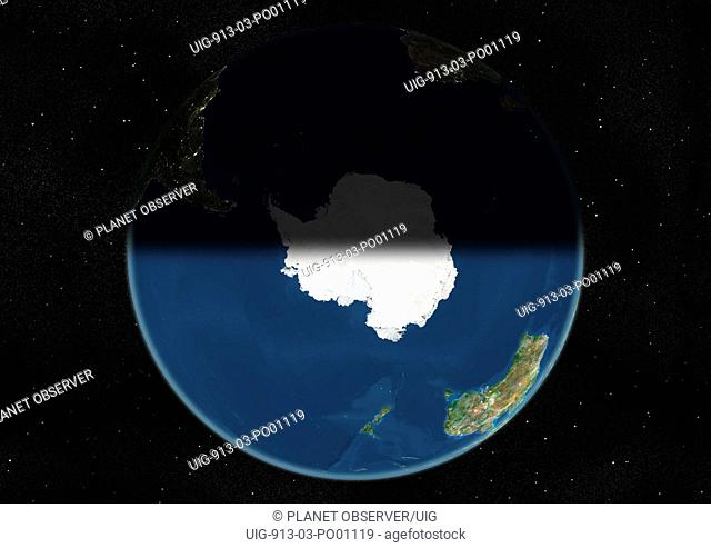 Globe Centred On The South Pole, True Colour Satellite Image. True colour satellite image of the Earth centred on the South Pole, at the equinox at 12 p