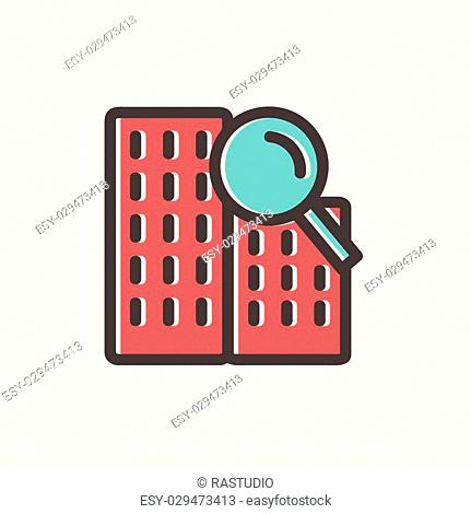 Search building icon thin line for web and mobile, modern minimalistic flat design. Vector icon with dark grey outline and offset colour on light grey...