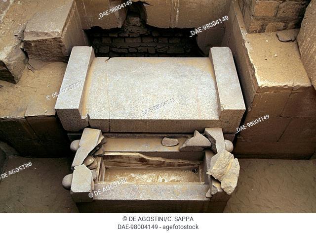 Sarcophagi inside the Mastaba of Ptahshepses, Necropolis of Abusir (UNESCO World Heritage List, 1979), Egypt. Egyptian civilisation, Old Kingdom, Dynasty V