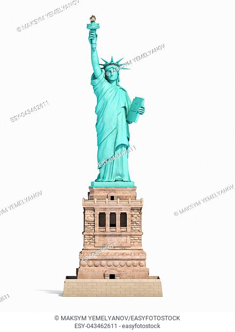 Statue of Liberty in New York City, USA isolated on white. 3d illustration