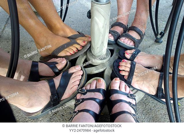 Women's Feet in Sandals, Wellsville, New York, United States