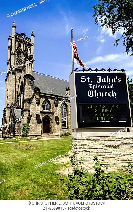 Saint John's CHurch on Woodward Ave in central downtown Detroit City Michigan