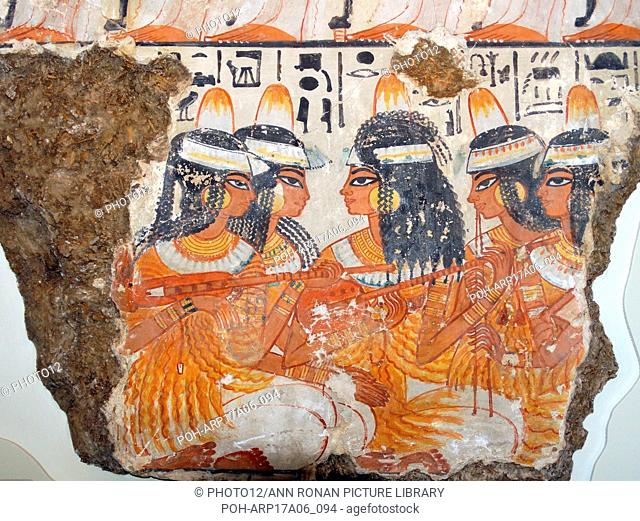 Musicians from the top two registers of the banquet scene. 18th Dynasty, from the tomb of Nebamun, 1350-1370 BC