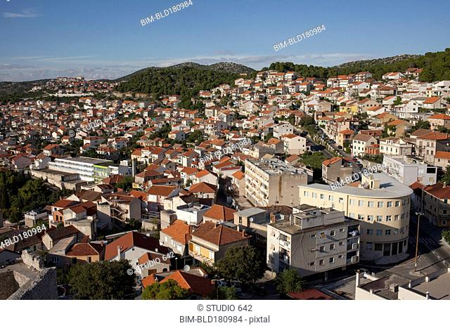 Aerial view of Sibenik cityscape, Sibenik, Croatia