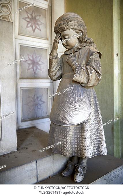 Picture and image of the Realistic young grieving girl stone funary monument sculpture commissioned by Enrico Amerigo for his sisters memory