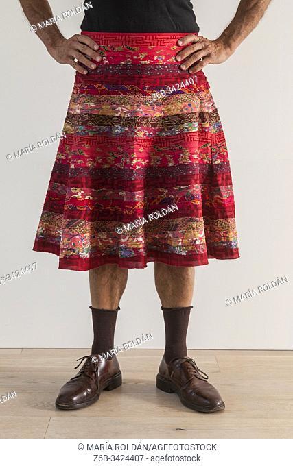 man wearing a womans skirt