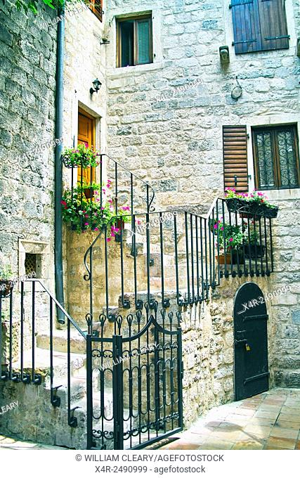Back streets of the old walled town of Kotor, Montenegro