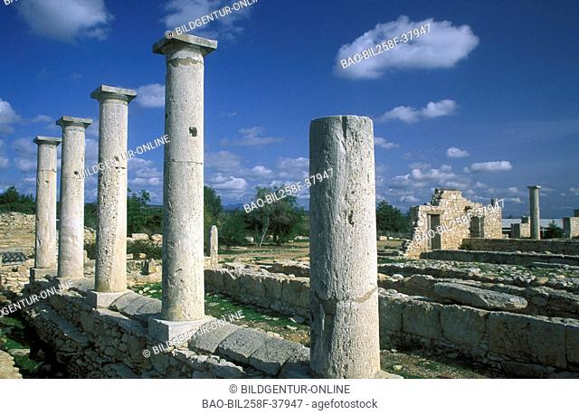 The Roman ruins of Kurion with Episkopi in sueden of the island Cyprus in the Mediterranean Sea in Europe