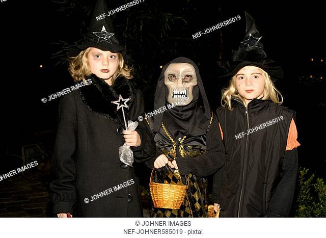 Three girls during Halloween, Sweden