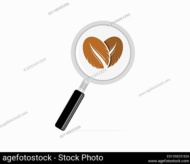 Magnifying glasses with coffee love inside