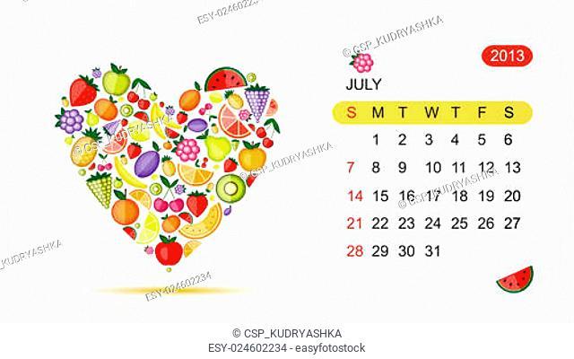 Vector calendar 2013, july. Art heart design