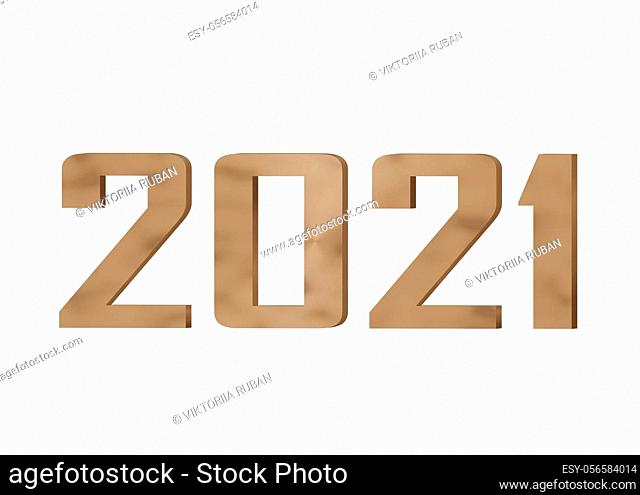 metal number new year 2021 isolated on white background, 3d render
