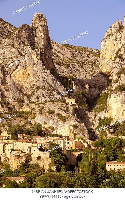 Setting sunlight over Moustier-Sainte-Marie, near Gorges du Verdon, Provence France
