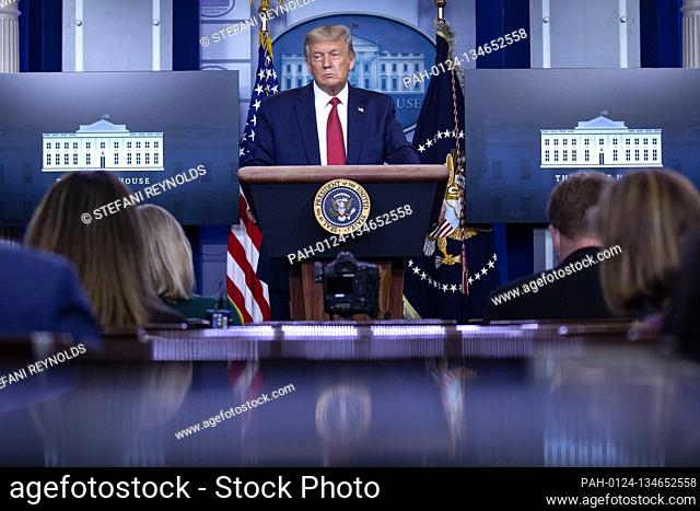 United States President Donald J. Trump speaks during a news conference in the James S. Brady Press Briefing Room at the White House in Washington D.C