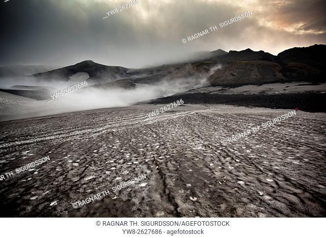Landscape after eruption from Eyjafjallajokull Volcano, Fimmvorduhals, Iceland