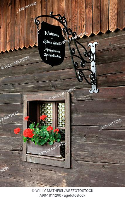 Sign of restaurant at Farmhouse Museum Lindberg, Bavarian Forest, Bavaria, Germany, Europe