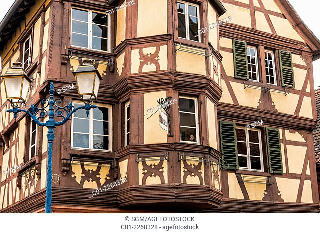 Folk museum housed in timber-framed Renaissance building Marmoutier Alsace France
